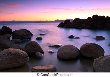 Lake Tahoe shore after sunset