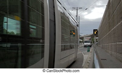Tram in Barcelona - BARCELONA - MAY 26, 2012: Tram is...