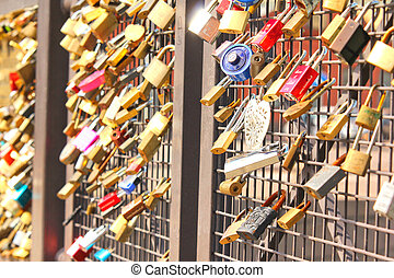 Bridge of love, locks locked onto a bridge