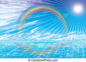 coastal rainbow - illustration of coastal rainbow and sunset