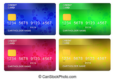 credit cards - multicolored credit cards isolated on white...