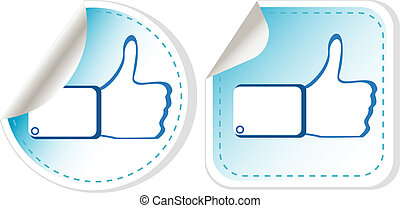 Stickers set with like hand Vector illustration