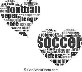 Football word cloud concept in heart shape