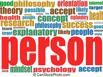 Person. Business word collage background - Person. Word...