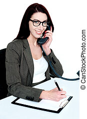 Corporate lady posing with telephone receiver isolated and...