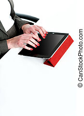 Cropped image of a businesswoman using tablet pc, business...