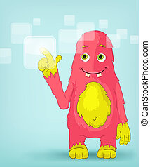Funny Monster. Touch Screen. - Cartoon Character Funny...