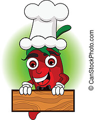 the cute chef chili cartoon - vector illustration of the...