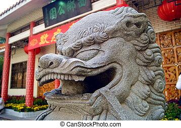 stone lion - Stone lion, Chinese mascot.