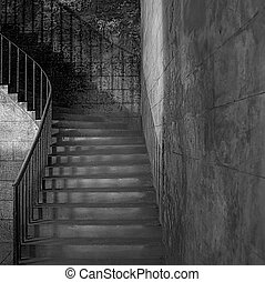 ancient staircase - Monochrome shot of sandstone shadowy...
