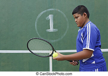 Thai boy tennis player learning how to preparing to play...
