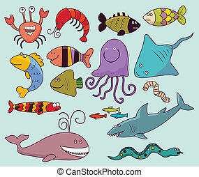Underwater wildlife - Vector illustration, marine animals,...