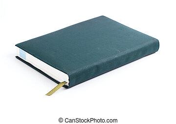 gammal, läder, isolerat, Anteckningsbok, grön, vit