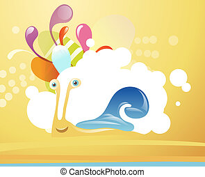 Funny snail on abstract background - Funny snail on tropical...