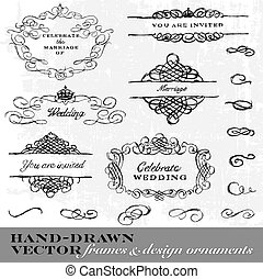 Vector Hand Drawn Frame and Ornament Set.