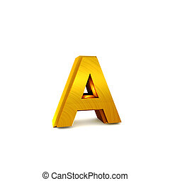 Shining gold 3D alphabet - 3D rendering of the alphabet in...