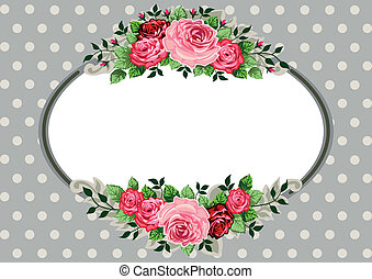 Retro oval roses vintage - Retro roses oval frame and...