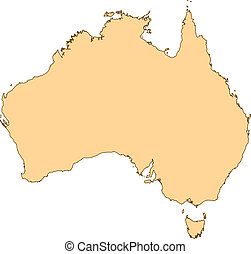 Map of Australia with the several provinces