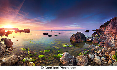 Colorful panorama of the sanset on the sea