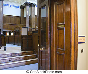 Very old courtroom 1854 at St Georges Hall, Liverpool,UK -...