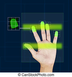 fingerprint scanner security concept .