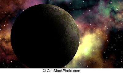 Major planet against bright nebula