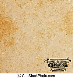 fundo, papel, antigas, Padrão, vindima, Máquina escrever