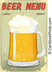 Retro Design Beer Menu - glass of beer vintage background -...