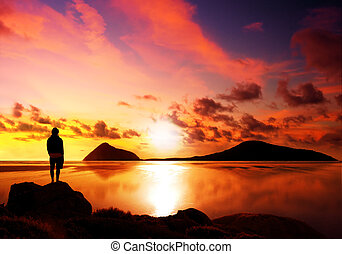 Beautiful Reflection - Silhouette of man reflecting while...