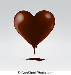 Chocolate heart shape candy melting - Glossy chocolate brown...