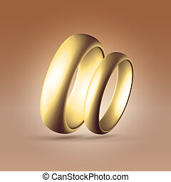 Shining golden wedding couple rings - Golden glossy wedding...