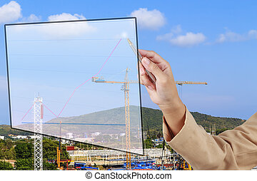 Hand of Secretary show a grow up arrow with construction site background