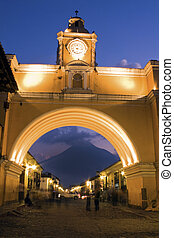 Santa Catalina Arch seen during sunset - Antigua, Guatemala