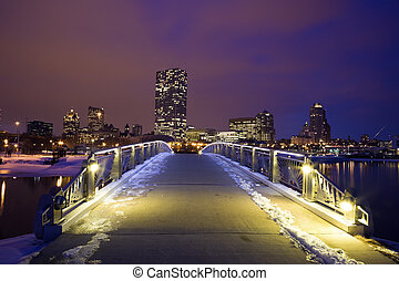 Winter sunset in Milwaukee - downtown seen from the...