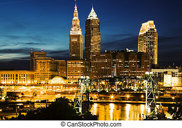 Cleveland during blue evening - Cleveland, Ohio seen during...