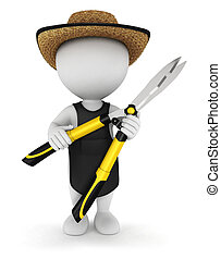 3d white people gardener with garden shears, isolated white...