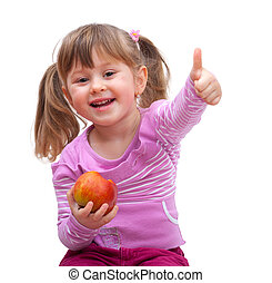 adorable little girl eating an apple and show good sign,...