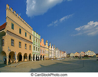 Telc 07d - ranaissance - the houses on main square in Telc -...