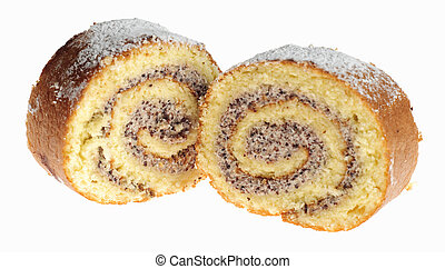 Swiss roll cakes - Two papaverous swiss roll cakes isoleted...
