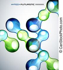Techno bubble background - Futuristic color bubbles abstract...