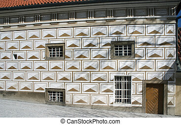 sgraffito plaster - ranaissance house covered by sgraffito...