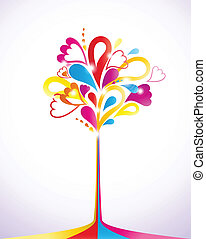 Painting colorful tree. Vector illustration
