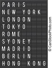 aéroport, mondiale, ville, destinations