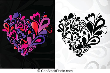 Two hearts. Vector background
