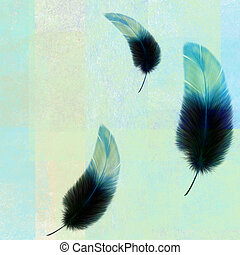 three blue feathers on an abstract texture