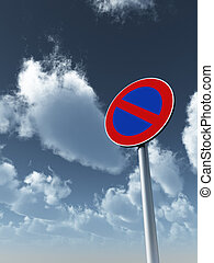 no parking - roadsign no parking under cloudy blue sky - 3d...