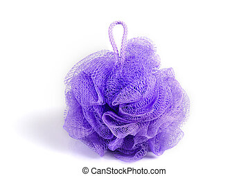 Bath sponge - Massage violet bath sponge isolated on white...