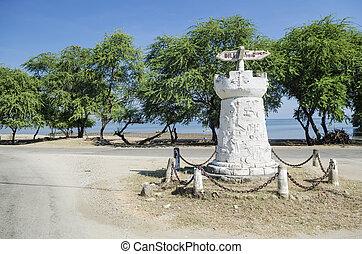 road sign outside dili east timor, timor leste