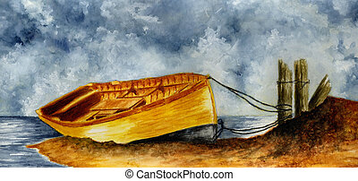 Boat Tied to the Pier - Watercolor painting of a small boat...