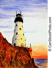 Rock Of Ages Lighthouse - Watercolor Painting of the Rock Of...